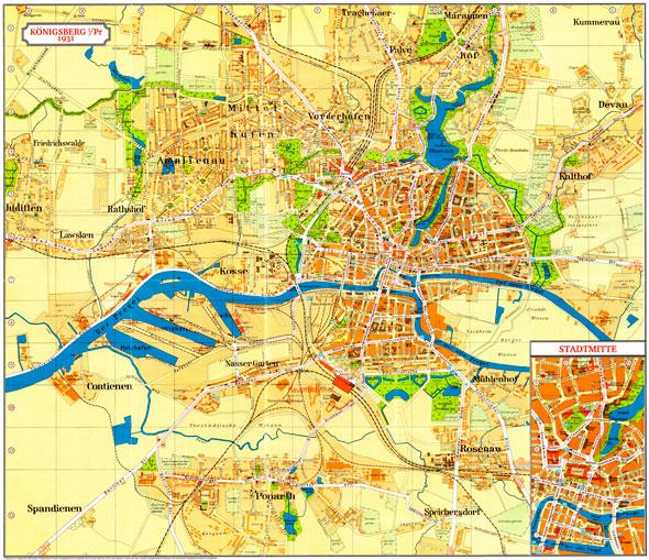 Карта города Кенигсберга, 1931 год