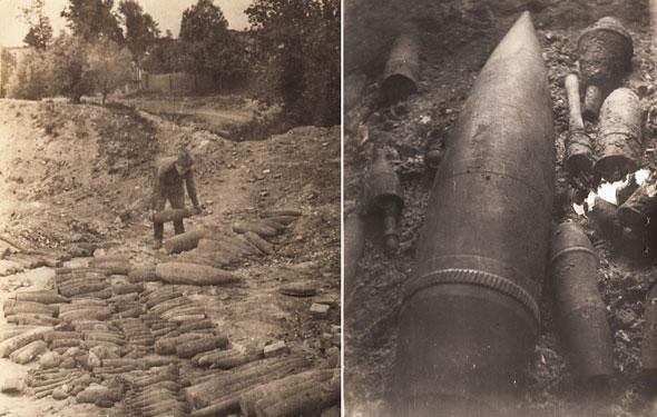 Боеприпасы, обнаруженные при разминировании района Форта № 5 (Король Фридрих Вильгельм III)