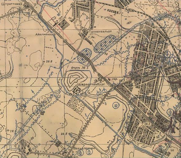 Боевая карта 1945 г., Кёнигсберг, Форт №5