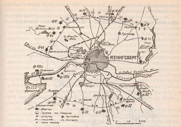 Схема расположения фортов Кёнигсберга