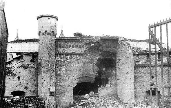 Форт №5 после боёв, апрель 1945.